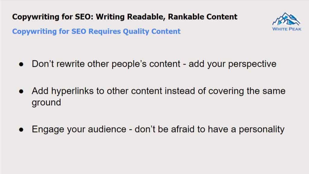Copywriting For Seo Requires Quality Content